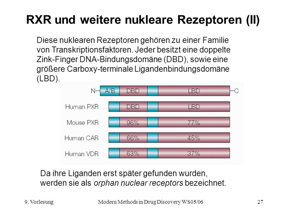 9. VorlesungModern Methods in Drug Discovery WS05/0627 RXR und weitere nukleare Rezeptoren (II) Diese nuklearen Rezeptoren gehören zu einer Familie vo