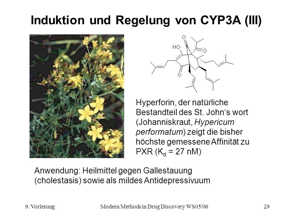 9. VorlesungModern Methods in Drug Discovery WS05/0629 Induktion und Regelung von CYP3A (III) Hyperforin, der natürliche Bestandteil des St. Johns wor