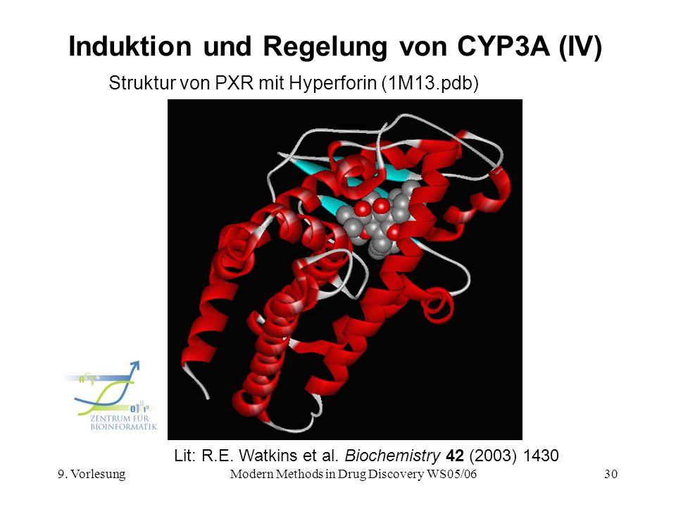 9. VorlesungModern Methods in Drug Discovery WS05/0630 Induktion und Regelung von CYP3A (IV) Struktur von PXR mit Hyperforin (1M13.pdb) Lit: R.E. Watk