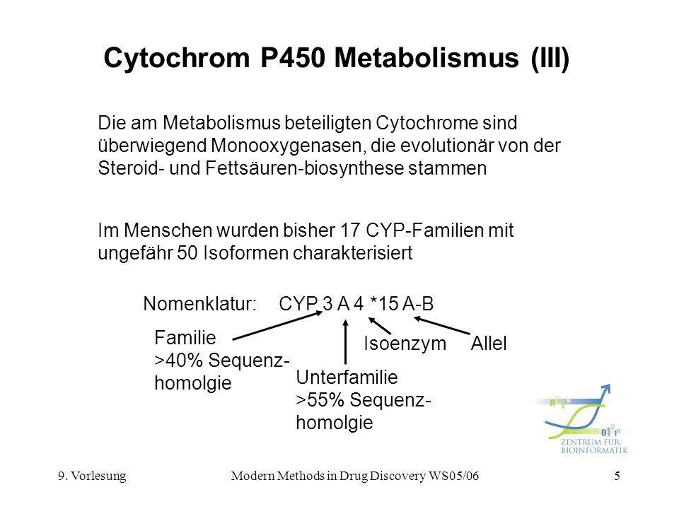 9. VorlesungModern Methods in Drug Discovery WS05/065 Cytochrom P450 Metabolismus (III) Die am Metabolismus beteiligten Cytochrome sind überwiegend Mo