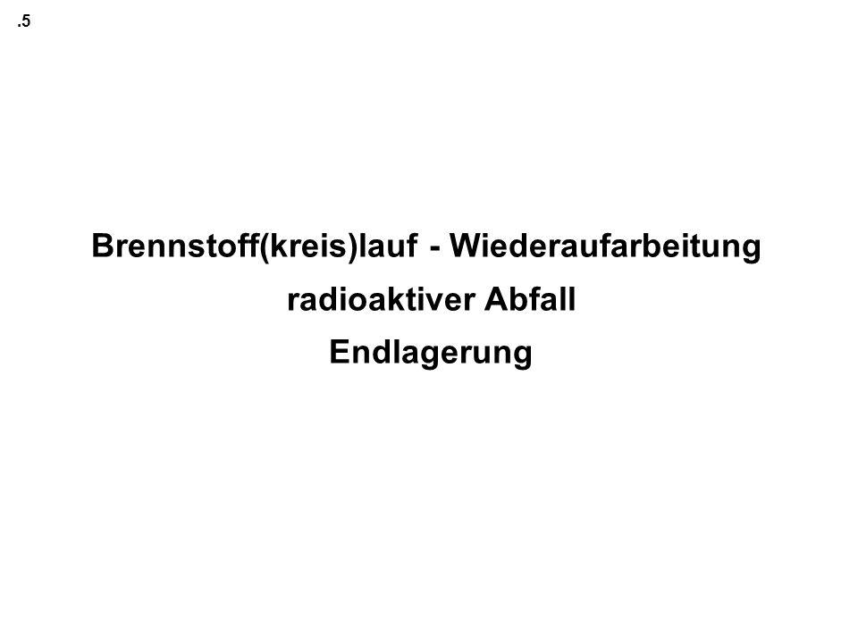 .5 Brennstoff(kreis)lauf - Wiederaufarbeitung radioaktiver Abfall Endlagerung