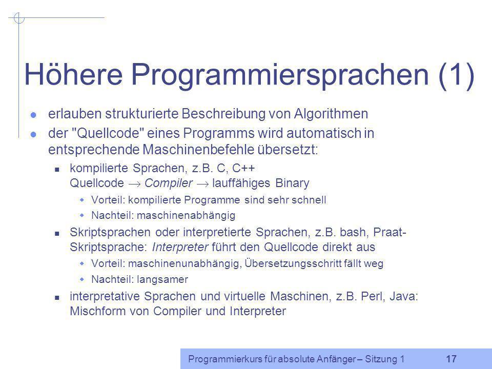 Programmierkurs für absolute Anfänger – Sitzung 1 16 Übung Daten: g40 u:156 t65 @52 n80 t72 a:267 k91 Aufgaben: Flussdiagramm für ein Programm, das 1)