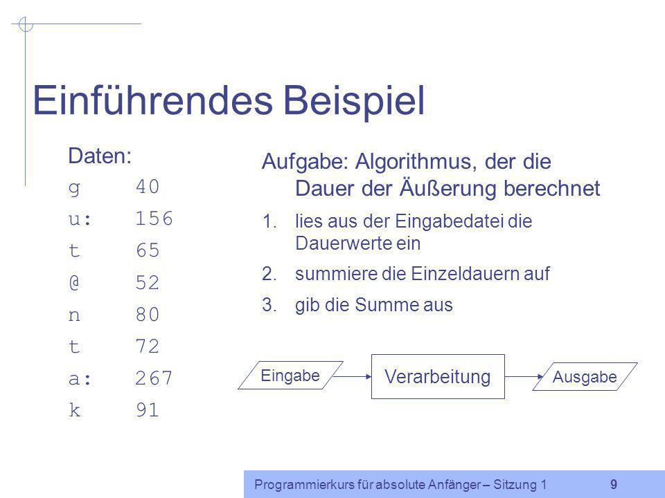 Programmierkurs für absolute Anfänger – Sitzung 1 8 Scheinerwerb (2) Endnote: Übungsaufgaben:40% Kurztests:20% Abschlussaufgabe:40% Fragen?