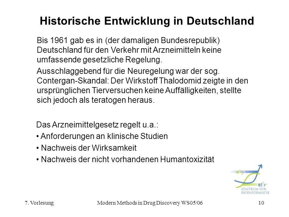 7. VorlesungModern Methods in Drug Discovery WS05/0610 Historische Entwicklung in Deutschland Bis 1961 gab es in (der damaligen Bundesrepublik) Deutsc