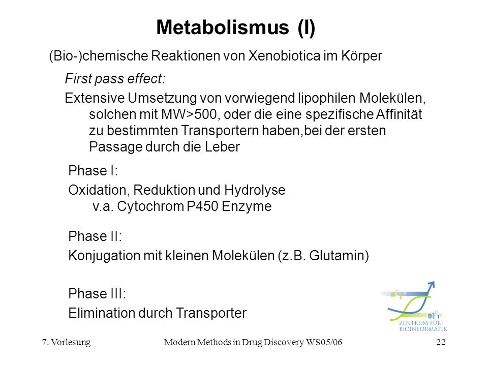 7. VorlesungModern Methods in Drug Discovery WS05/0622 Metabolismus (I) (Bio-)chemische Reaktionen von Xenobiotica im Körper Phase I: Oxidation, Reduk