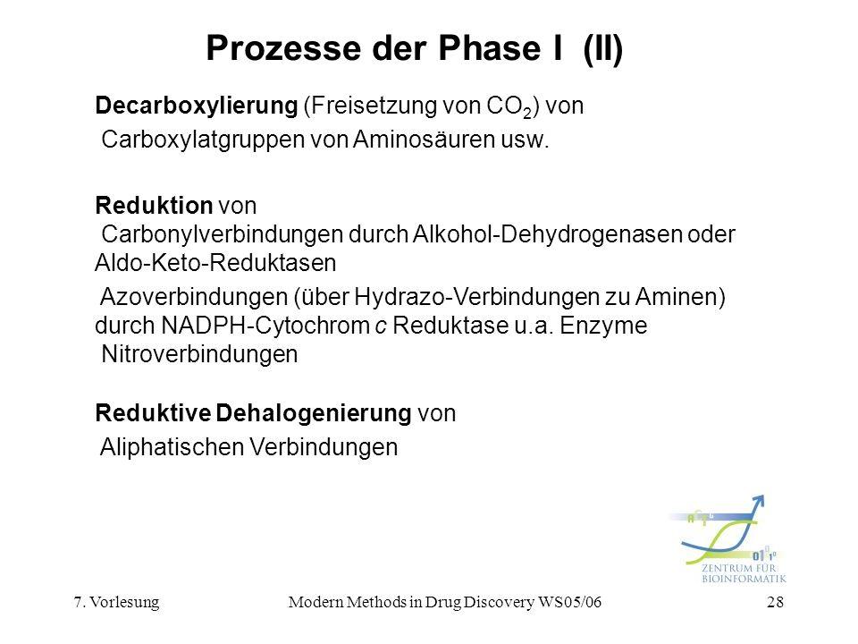 7. VorlesungModern Methods in Drug Discovery WS05/0628 Prozesse der Phase I (II) Decarboxylierung (Freisetzung von CO 2 ) von Carboxylatgruppen von Am