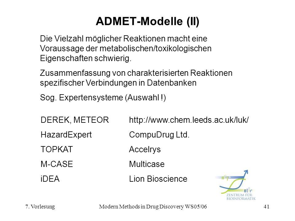 7. VorlesungModern Methods in Drug Discovery WS05/0641 ADMET-Modelle (II) Die Vielzahl möglicher Reaktionen macht eine Voraussage der metabolischen/to
