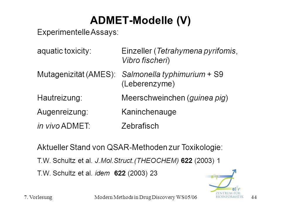 7. VorlesungModern Methods in Drug Discovery WS05/0644 ADMET-Modelle (V) Experimentelle Assays: aquatic toxicity:Einzeller (Tetrahymena pyrifomis, Vib