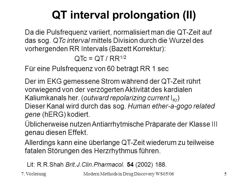 7. VorlesungModern Methods in Drug Discovery WS05/065 QT interval prolongation (II) Da die Pulsfrequenz variiert, normalisiert man die QT-Zeit auf das