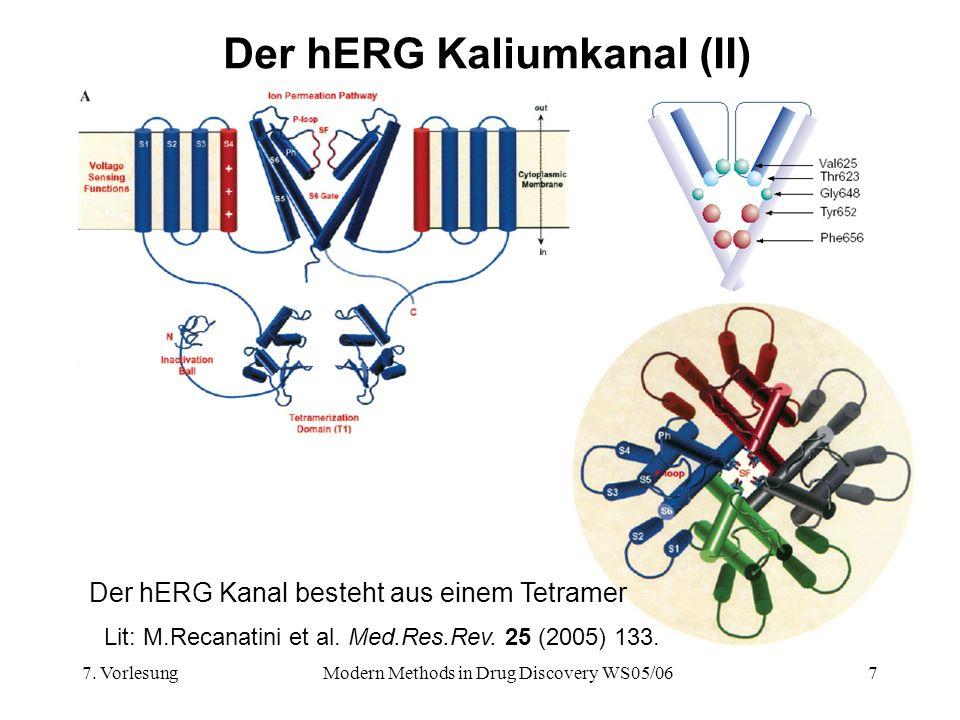 7. VorlesungModern Methods in Drug Discovery WS05/067 Der hERG Kaliumkanal (II) Der hERG Kanal besteht aus einem Tetramer Lit: M.Recanatini et al. Med