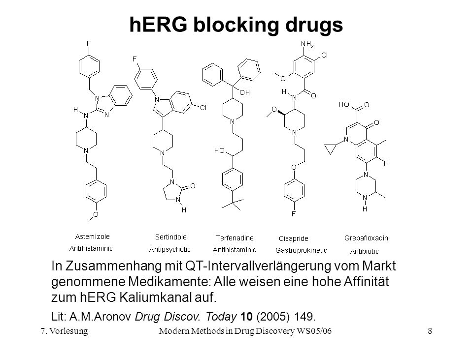 7. VorlesungModern Methods in Drug Discovery WS05/068 hERG blocking drugs In Zusammenhang mit QT-Intervallverlängerung vom Markt genommene Medikamente