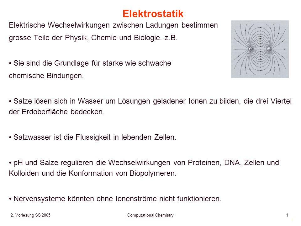 1 2. Vorlesung SS 2005 Computational Chemistry1 Elektrostatik Elektrische Wechselwirkungen zwischen Ladungen bestimmen grosse Teile der Physik, Chemie