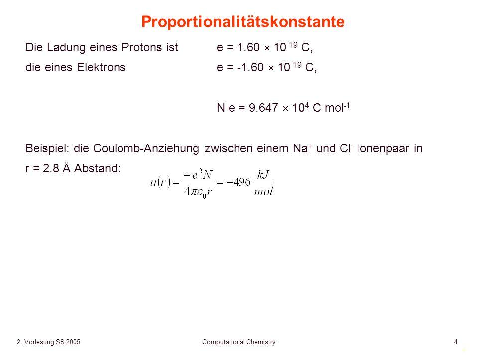 4 2. Vorlesung SS 2005 Computational Chemistry4 Proportionalitätskonstante Die Ladung eines Protons ist e = 1.60 10 -19 C, die eines Elektronse = -1.6