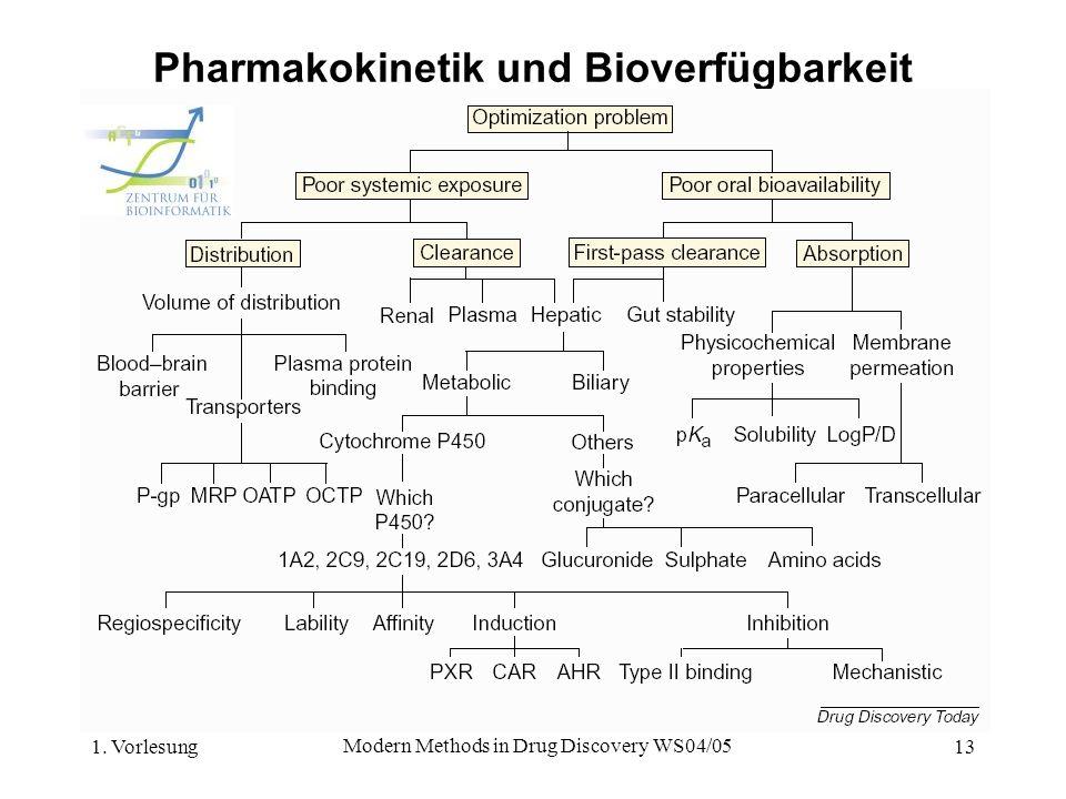 1. Vorlesung Modern Methods in Drug Discovery WS04/05 13 Pharmakokinetik und Bioverfügbarkeit
