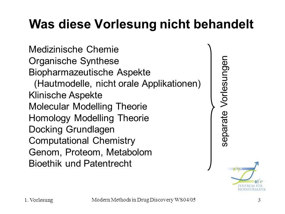 1. Vorlesung Modern Methods in Drug Discovery WS04/05 3 Was diese Vorlesung nicht behandelt Medizinische Chemie Organische Synthese Biopharmazeutische