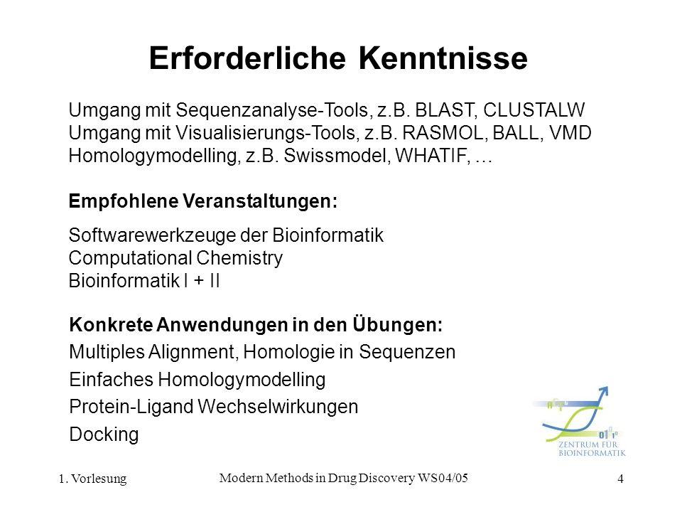 1. Vorlesung Modern Methods in Drug Discovery WS04/05 4 Erforderliche Kenntnisse Umgang mit Sequenzanalyse-Tools, z.B. BLAST, CLUSTALW Umgang mit Visu