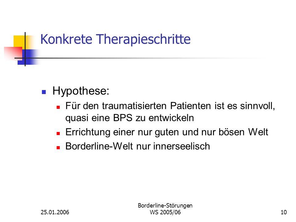 25.01.2006 Borderline-Störungen WS 2005/0610 Konkrete Therapieschritte Hypothese: Für den traumatisierten Patienten ist es sinnvoll, quasi eine BPS zu