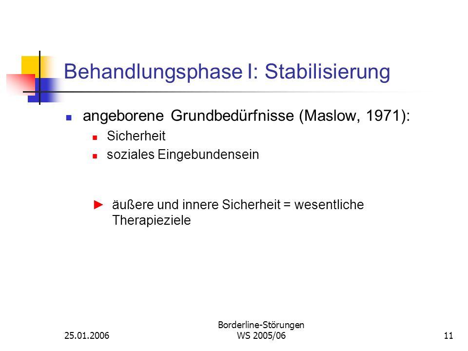 25.01.2006 Borderline-Störungen WS 2005/0611 Behandlungsphase I: Stabilisierung angeborene Grundbedürfnisse (Maslow, 1971): Sicherheit soziales Eingeb