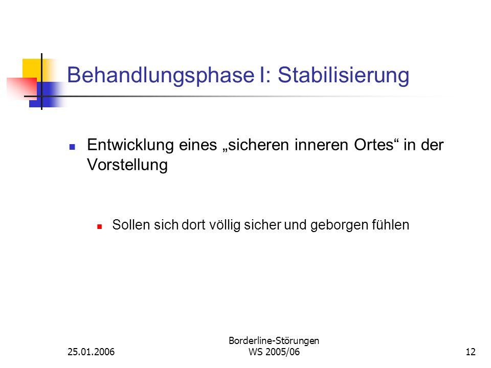 25.01.2006 Borderline-Störungen WS 2005/0612 Behandlungsphase I: Stabilisierung Entwicklung eines sicheren inneren Ortes in der Vorstellung Sollen sic