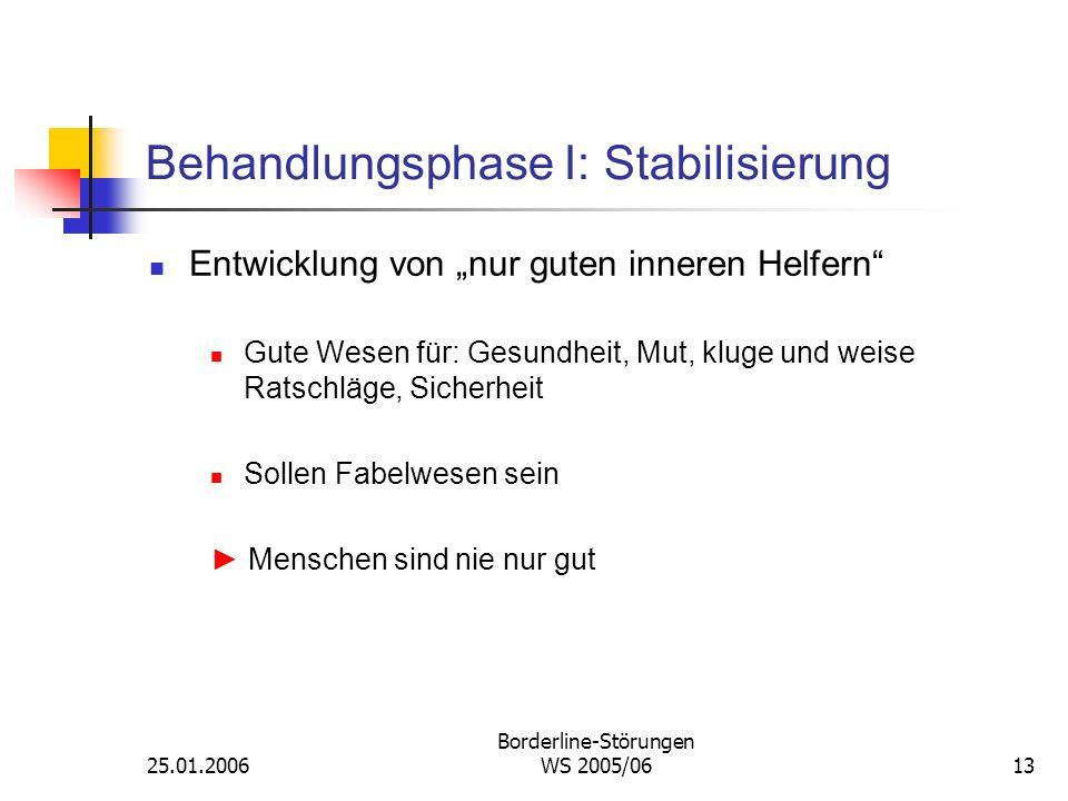 25.01.2006 Borderline-Störungen WS 2005/0613 Behandlungsphase I: Stabilisierung Entwicklung von nur guten inneren Helfern Gute Wesen für: Gesundheit,