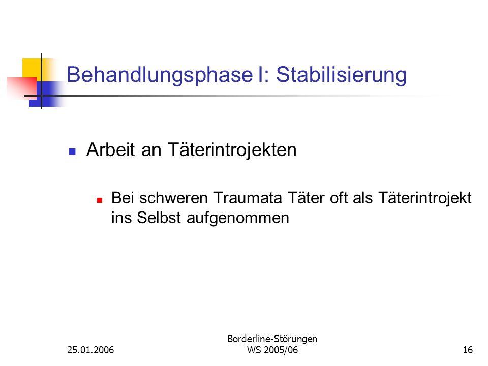 25.01.2006 Borderline-Störungen WS 2005/0616 Behandlungsphase I: Stabilisierung Arbeit an Täterintrojekten Bei schweren Traumata Täter oft als Täterin