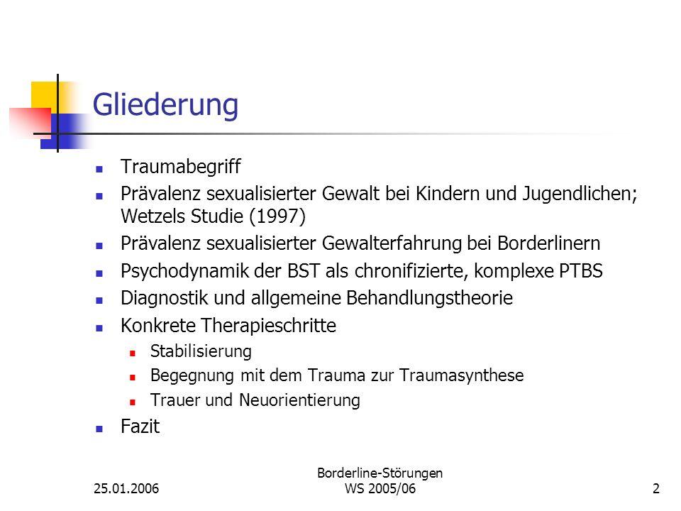 25.01.2006 Borderline-Störungen WS 2005/062 Gliederung Traumabegriff Prävalenz sexualisierter Gewalt bei Kindern und Jugendlichen; Wetzels Studie (199