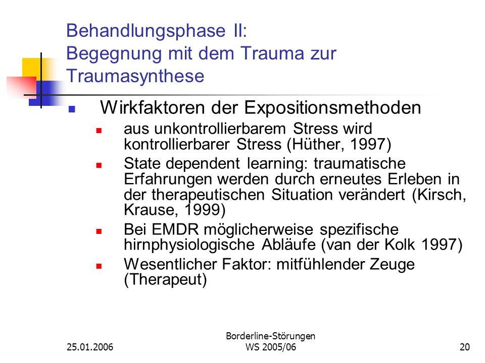 25.01.2006 Borderline-Störungen WS 2005/0620 Behandlungsphase II: Begegnung mit dem Trauma zur Traumasynthese Wirkfaktoren der Expositionsmethoden aus