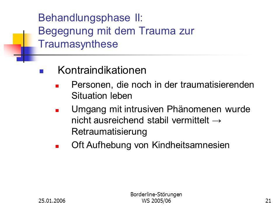25.01.2006 Borderline-Störungen WS 2005/0621 Behandlungsphase II: Begegnung mit dem Trauma zur Traumasynthese Kontraindikationen Personen, die noch in