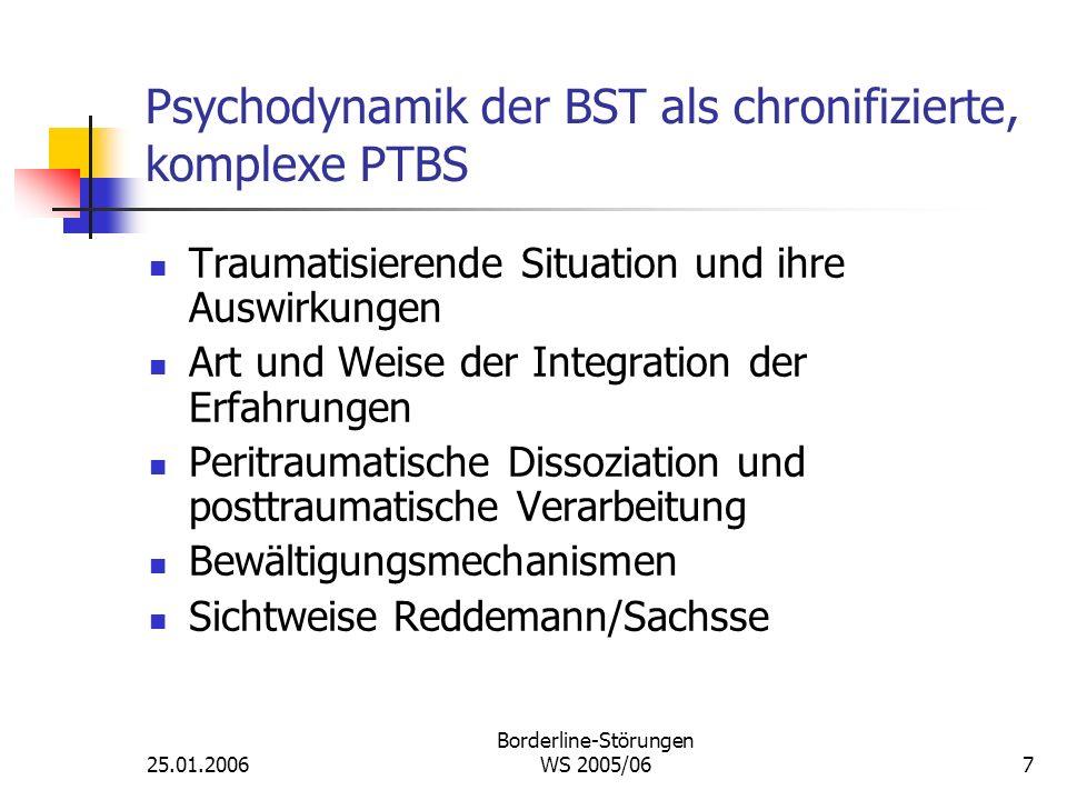 25.01.2006 Borderline-Störungen WS 2005/067 Psychodynamik der BST als chronifizierte, komplexe PTBS Traumatisierende Situation und ihre Auswirkungen A