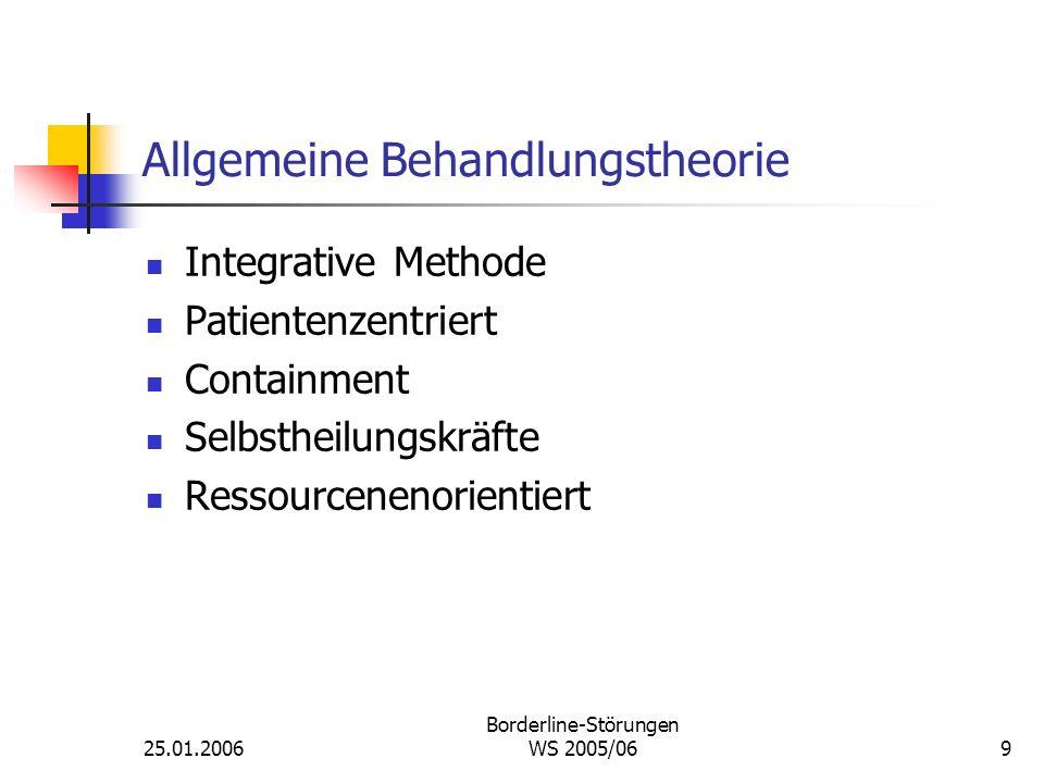 25.01.2006 Borderline-Störungen WS 2005/069 Allgemeine Behandlungstheorie Integrative Methode Patientenzentriert Containment Selbstheilungskräfte Ress