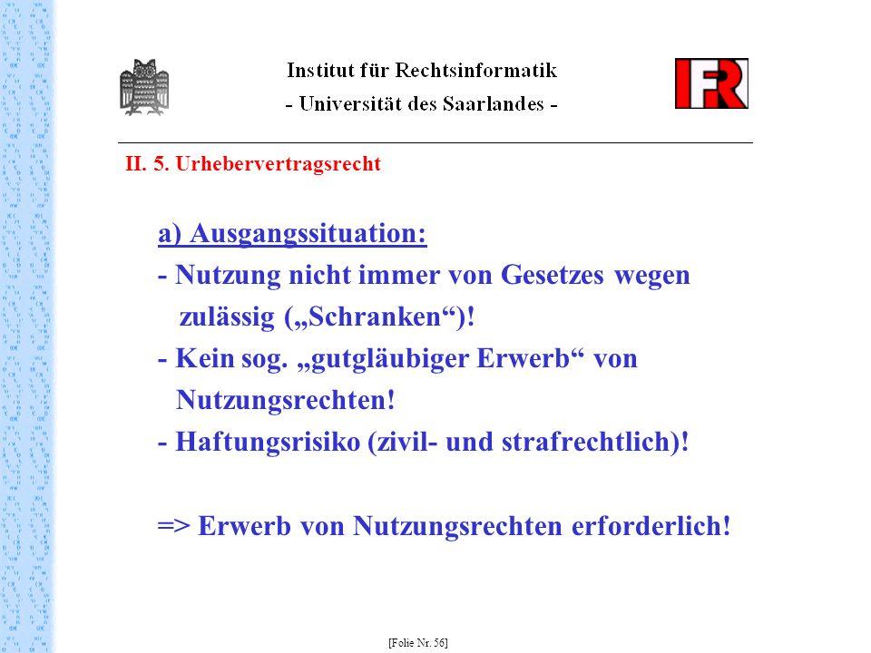 II. 5. Urhebervertragsrecht a) Ausgangssituation: - Nutzung nicht immer von Gesetzes wegen zulässig (Schranken)! - Kein sog. gutgläubiger Erwerb von N