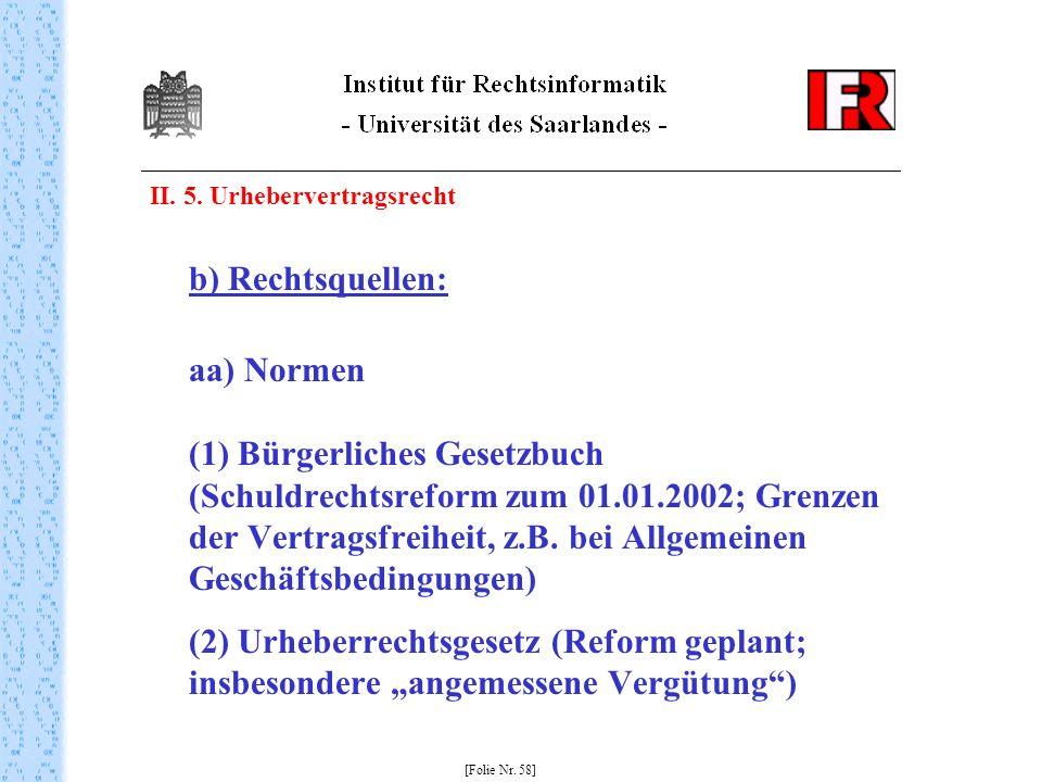 II. 5. Urhebervertragsrecht b) Rechtsquellen: aa) Normen (1) Bürgerliches Gesetzbuch (Schuldrechtsreform zum 01.01.2002; Grenzen der Vertragsfreiheit,