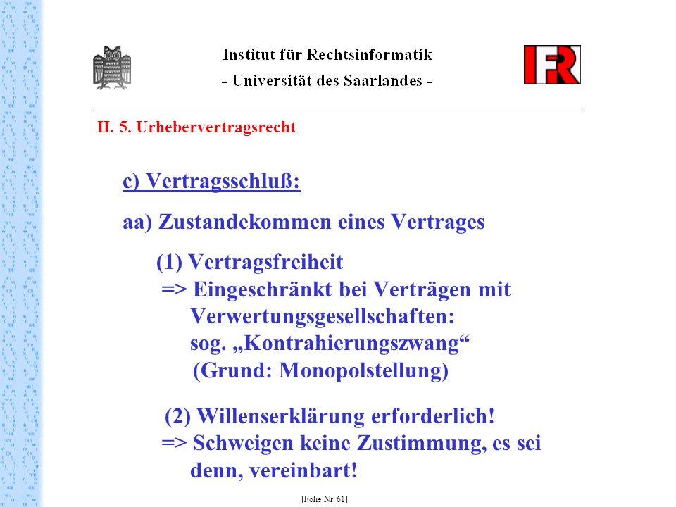 II. 5. Urhebervertragsrecht c) Vertragsschluß: aa) Zustandekommen eines Vertrages (1) Vertragsfreiheit => Eingeschränkt bei Verträgen mit Verwertungsg