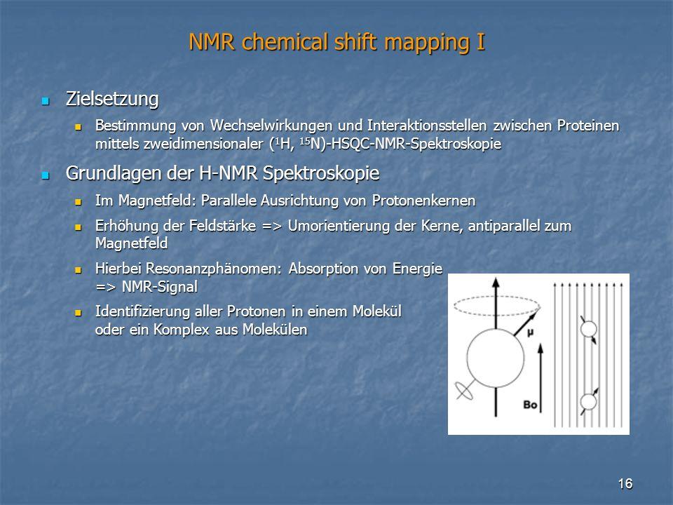 16 NMR chemical shift mapping I Zielsetzung Zielsetzung Bestimmung von Wechselwirkungen und Interaktionsstellen zwischen Proteinen mittels zweidimensi