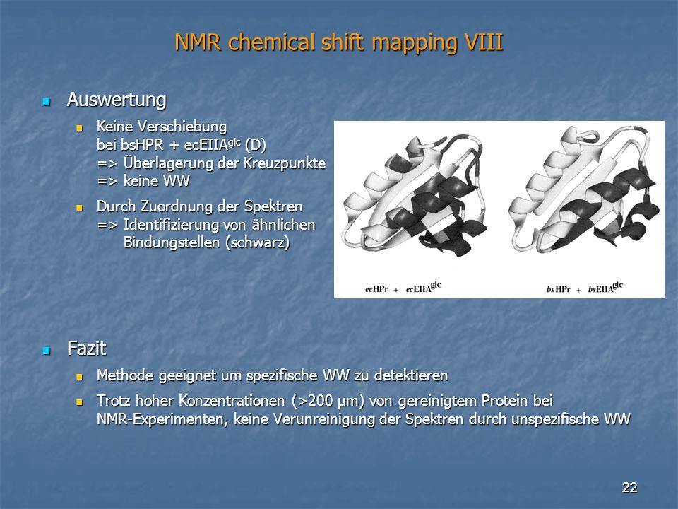 22 NMR chemical shift mapping VIII Auswertung Auswertung Keine Verschiebung bei bsHPR + ecEIIA glc (D) => Überlagerung der Kreuzpunkte => keine WW Kei