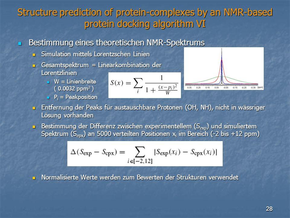 28 Structure prediction of protein-complexes by an NMR-based protein docking algorithm VI Bestimmung eines theoretischen NMR-Spektrums Bestimmung eine