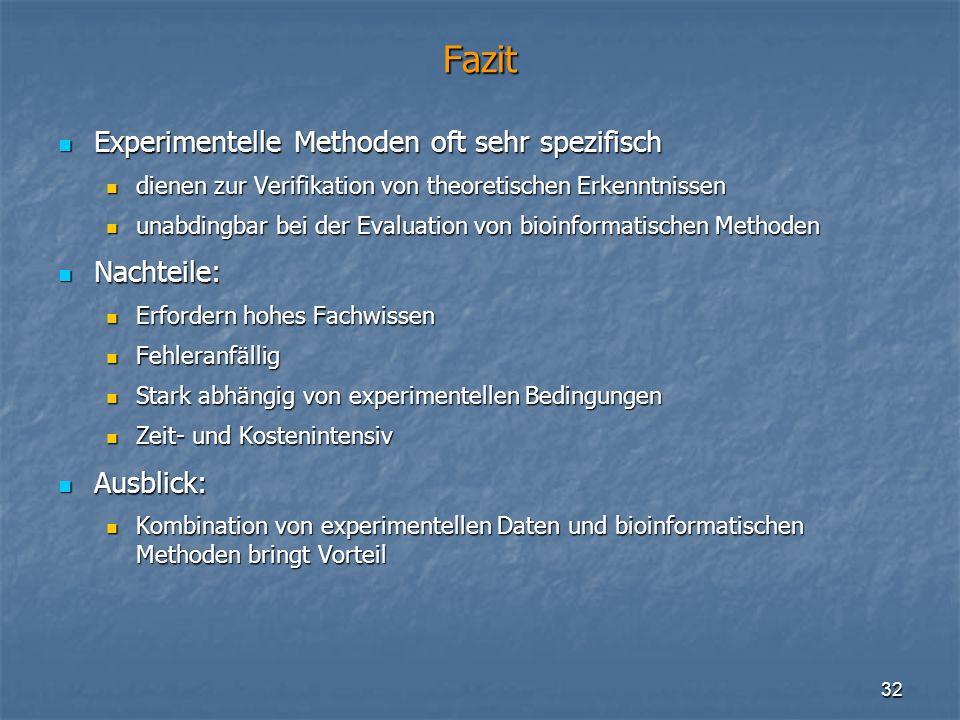 32 Fazit Experimentelle Methoden oft sehr spezifisch Experimentelle Methoden oft sehr spezifisch dienen zur Verifikation von theoretischen Erkenntniss