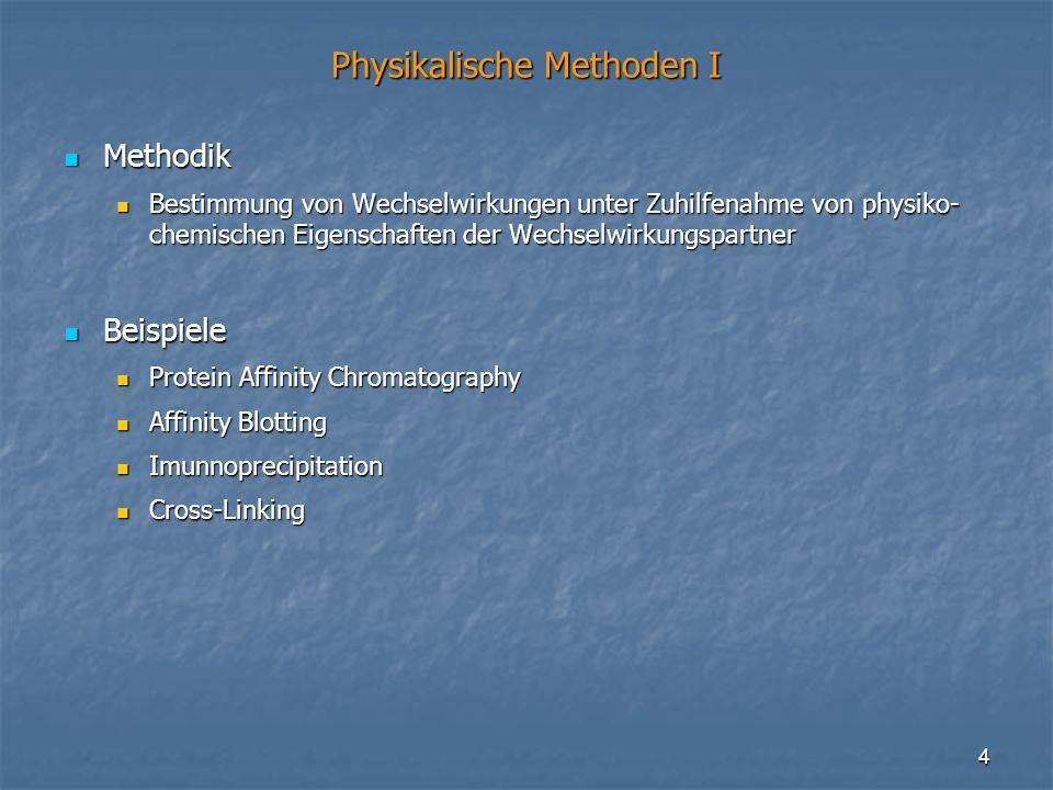 4 Physikalische Methoden I Methodik Methodik Bestimmung von Wechselwirkungen unter Zuhilfenahme von physiko- chemischen Eigenschaften der Wechselwirku