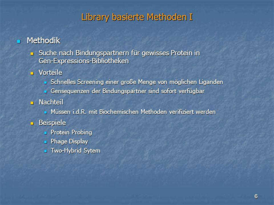 6 Library basierte Methoden I Methodik Methodik Suche nach Bindungspartnern für gewisses Protein in Gen-Expressions-Bibliotheken Suche nach Bindungspa