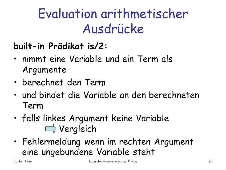 Jochen FreyLogische Programmierung: Prolog20 Evaluation arithmetischer Ausdrücke built-in Prädikat is/2: nimmt eine Variable und ein Term als Argument