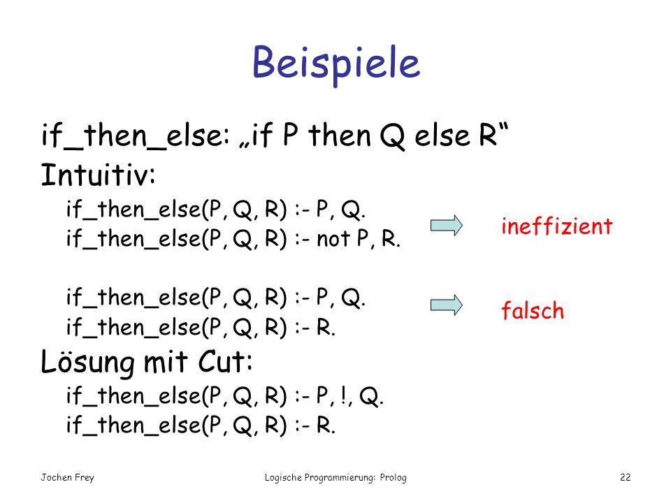 Jochen FreyLogische Programmierung: Prolog22 Beispiele if_then_else: if P then Q else R Intuitiv: if_then_else(P, Q, R) :- P, Q. if_then_else(P, Q, R)
