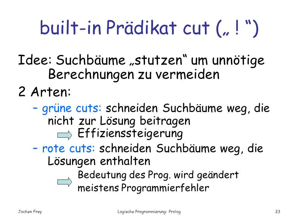 Jochen FreyLogische Programmierung: Prolog23 built-in Prädikat cut ( ! ) Idee: Suchbäume stutzen um unnötige Berechnungen zu vermeiden 2 Arten: –grüne
