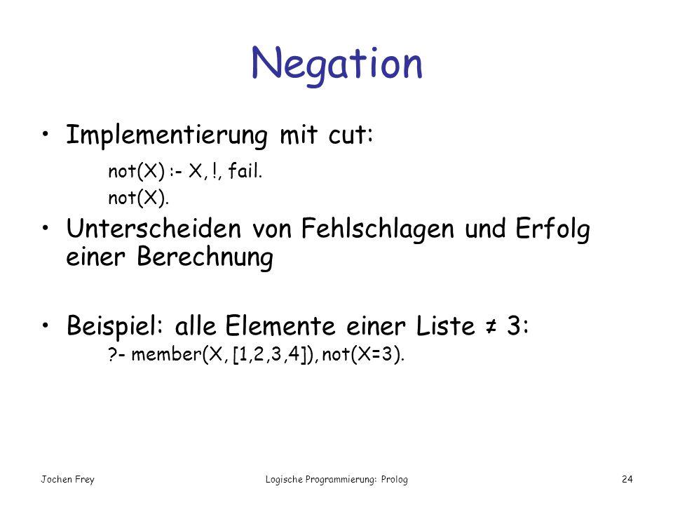 Jochen FreyLogische Programmierung: Prolog24 Negation Implementierung mit cut: not(X) :- X, !, fail. not(X). Unterscheiden von Fehlschlagen und Erfolg
