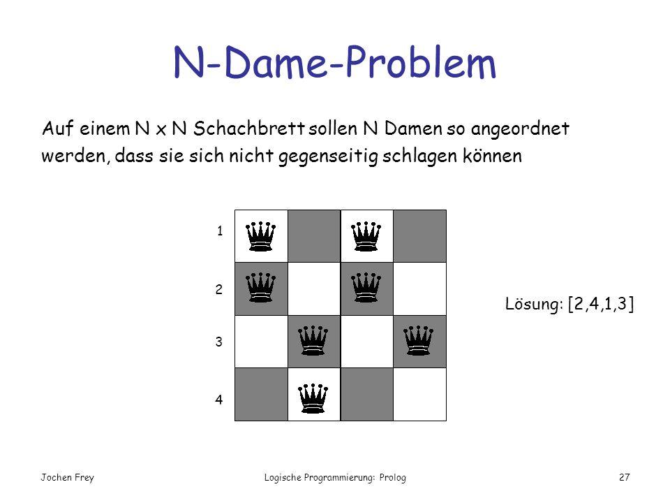 Jochen FreyLogische Programmierung: Prolog27 N-Dame-Problem Auf einem N x N Schachbrett sollen N Damen so angeordnet werden, dass sie sich nicht gegen