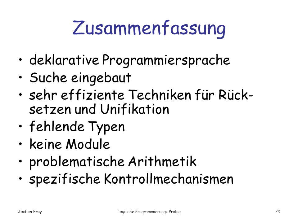 Jochen FreyLogische Programmierung: Prolog29 Zusammenfassung deklarative Programmiersprache Suche eingebaut sehr effiziente Techniken für Rück- setzen