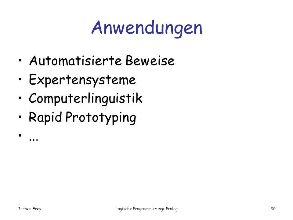 Jochen FreyLogische Programmierung: Prolog30 Anwendungen Automatisierte Beweise Expertensysteme Computerlinguistik Rapid Prototyping...