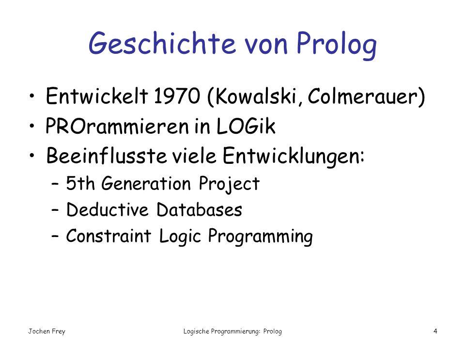 Jochen FreyLogische Programmierung: Prolog4 Geschichte von Prolog Entwickelt 1970 (Kowalski, Colmerauer) PROrammieren in LOGik Beeinflusste viele Entw