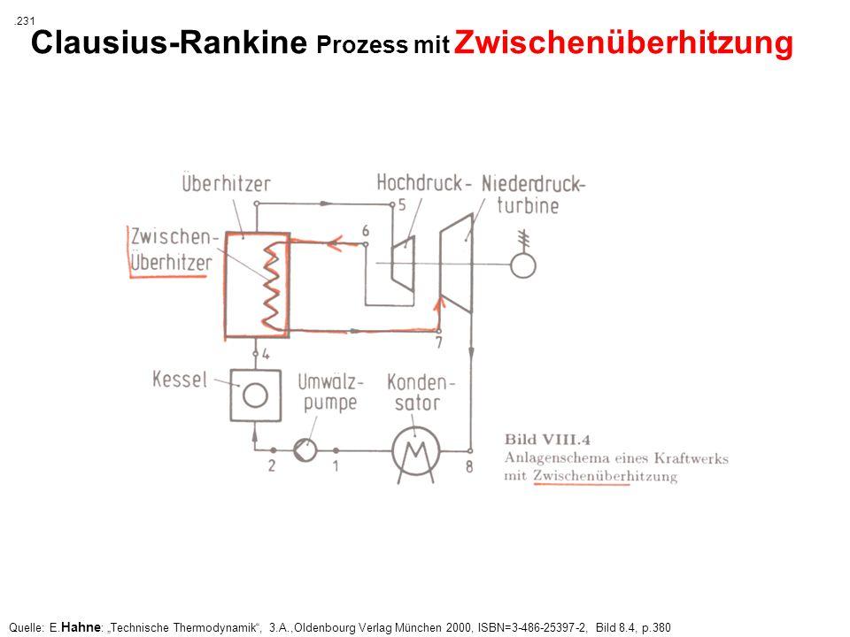 Quelle: E. Hahne : Technische Thermodynamik, 3.A.,Oldenbourg Verlag München 2000, ISBN=3-486-25397-2, Bild 8.4, p.380 Clausius-Rankine Prozess mit Zwi