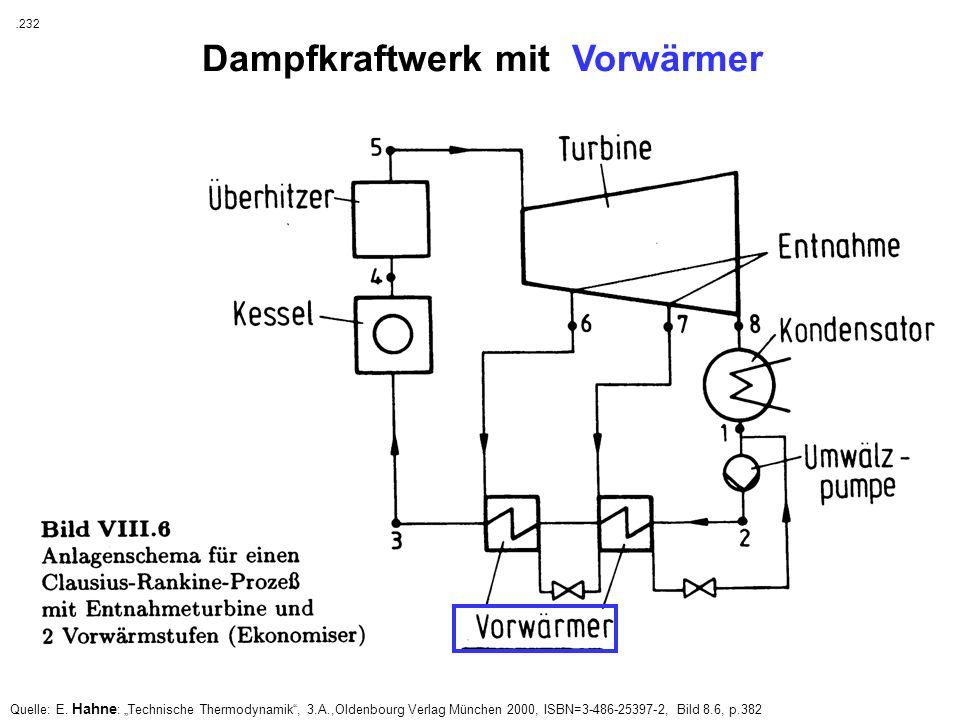Quelle: E. Hahne : Technische Thermodynamik, 3.A.,Oldenbourg Verlag München 2000, ISBN=3-486-25397-2, Bild 8.6, p.382 Dampfkraftwerk mit Vorwärmer. 23