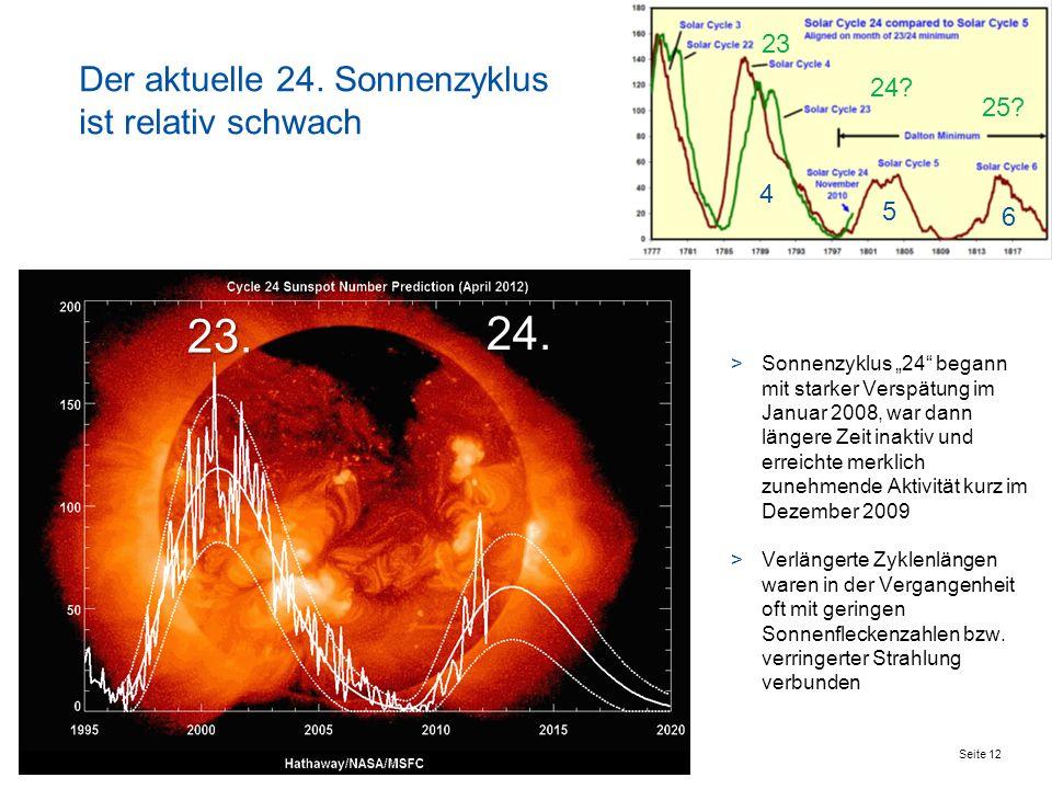 Seite 12 Der aktuelle 24. Sonnenzyklus ist relativ schwach >Sonnenzyklus 24 begann mit starker Verspätung im Januar 2008, war dann längere Zeit inakti